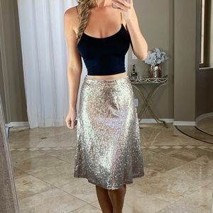 New Ann Taylor Gold Sequin A Line Midi Skirt